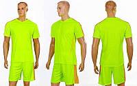 Футбольная форма подростковая Glow  (PL, р-р 120-150см, салат-оранж, шорты салатовые), фото 1