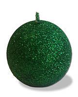 Свеча - шар с блестками Зелёный 80 грамм