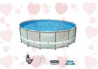 Каркасный круглый бассейн Ultra Frame Pool Intex 28324 488х122 см. В комплекте идет песочный фильтрующий насос