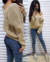 Женский вязаный свитер с V-вырезом и спадающим плечом 704110, фото 1