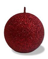 Свеча - шар с блестками Красный 80 грамм