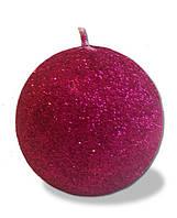 Свеча - шар с блестками Розовый 180 грамм