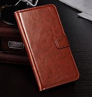 Кожаный чехол-книжка для  HTC One M9 коричневый