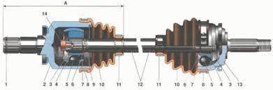 Привода передних колёс и шарниры равных угловых скоростей