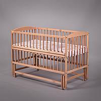 """Дитяче ліжечко Дубок """"Антошка"""" з відк.боковинкою,натур.на маятнику, фото 1"""