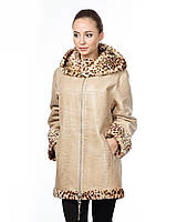 Дубленка 013 KROKO 022, Цвет Бежевый-леопард, Размер XL