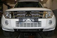 Декоративно-защитная сетка радиатора Mitsubishi Pajero Wagon IV фальшрадиаторная решетка, бампер, фото 1