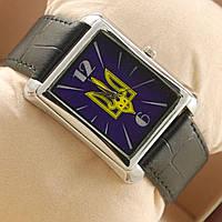 Часы с украинским тризубцем кварцевые прямоугольные на кожаном ремешке, фото 1