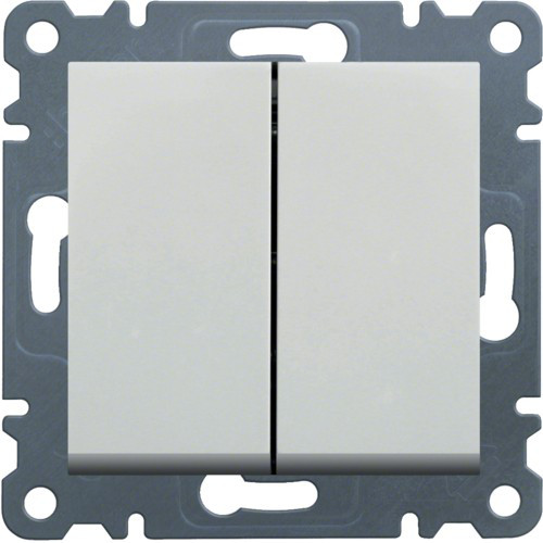 Выключатель 2-клавишный Hager Lumina Белый
