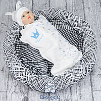 "Детский кокон на молнии ""Prince"" р.56 (белый - голубой)"