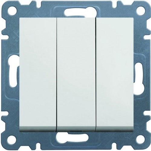 Выключатель 3-клавишный Hager Lumina2 Белый WL0070