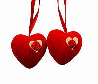 Подвеска сердце велюр 6 см 2 штуки