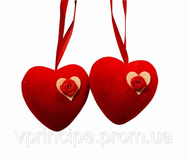Подвеска сердце велюр 6 см 2 штуки - Все в Принципе канцтовары в Киеве