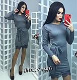 Платье футляр карандаш мини кружево ресничка + пояс, фото 2
