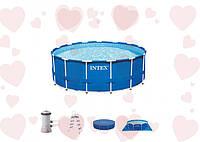 Каркасный бассейн Metal Frame Pool Intex 28232 457х91 см. В комплекте насос-фильтр, лестница, тент, подстилка.