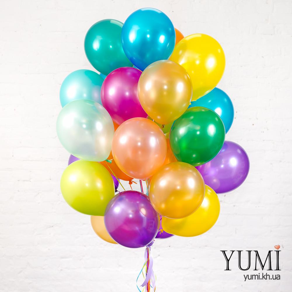 25 разноцветных гелиевых шаров с металлическим блеском