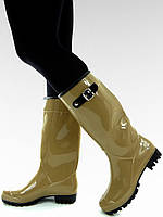 Бежевые женские резиновые сапоги с большими пряжками 812-1 40,39,36