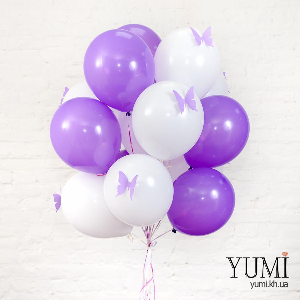 Букет из 15 воздушных шаров с бабочками для мамы