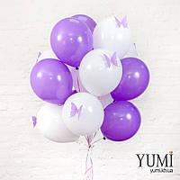 Акционный букет из 15 белых и сиреневых воздушных шаров с бабочками