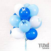 Акционный букет из 15 белых, голубых и синих воздушных шаров с бабочками