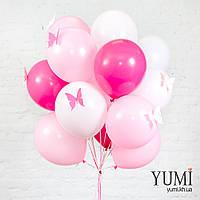Акционный букет из 15 белых, нежно-розовых и фуксия воздушных шаров с бабочками