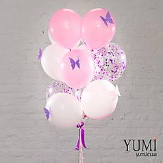 Связка из 4 розовых, 4 белых шаров с сиреневыми и розовыми бабочками и 3 шаров с фиолетовым конфетти