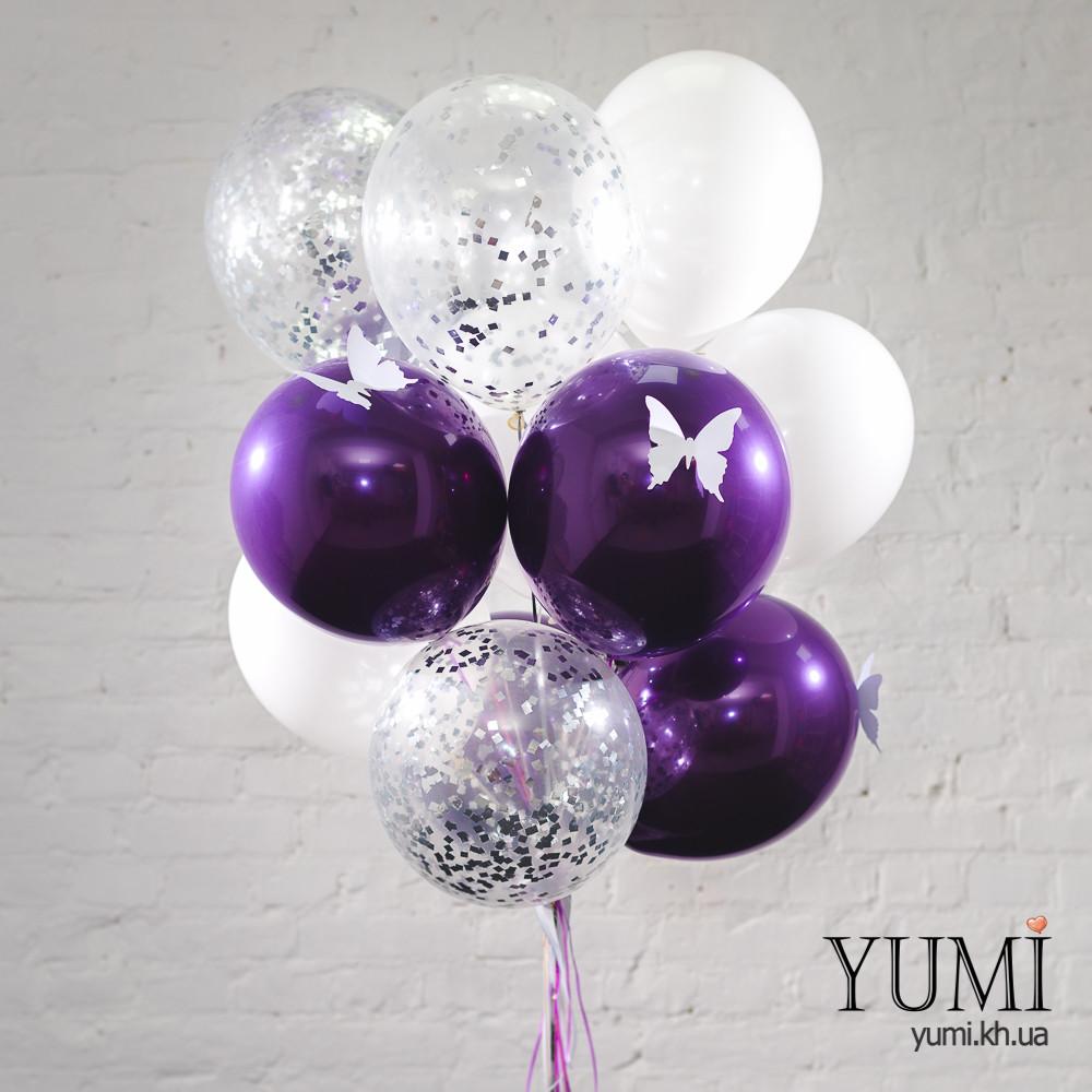 Связка из 5 зеркальных шаров фиолетовых с белыми бабочками, 5 белых шаров и 5 прозрачных шаров с серебряным