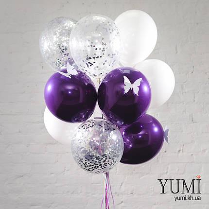 Связка из 5 зеркальных шаров фиолетовых с белыми бабочками, 5 белых шаров и 5 прозрачных шаров с серебряным, фото 2
