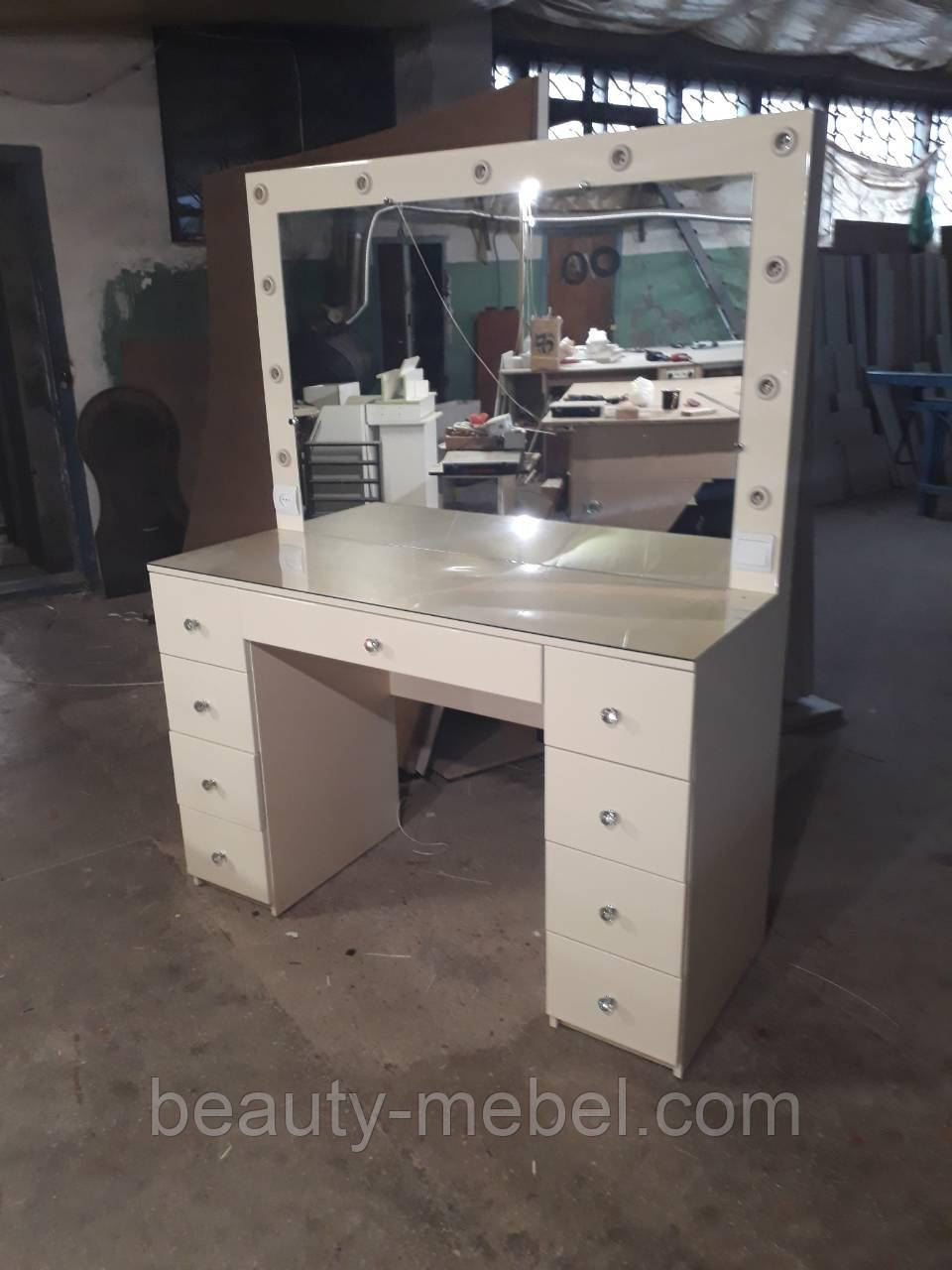 Стол для визажиста, гримерный с подсветкой, глянец МДФ