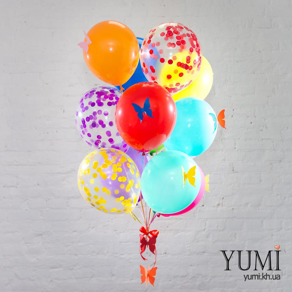 """11 ярких гелиевых шариков для ребенка с гирляндой """"Объёмные бабочки"""""""