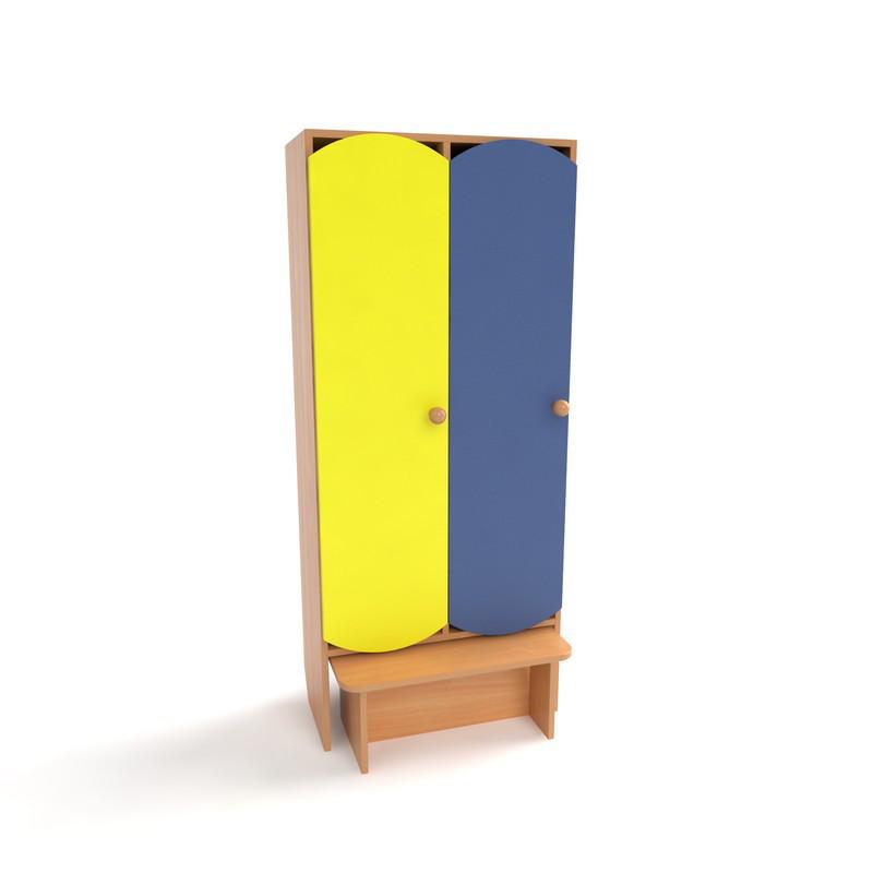 Детский шкаф для раздевалки двухсекционный с лавкой и цветными дверьми
