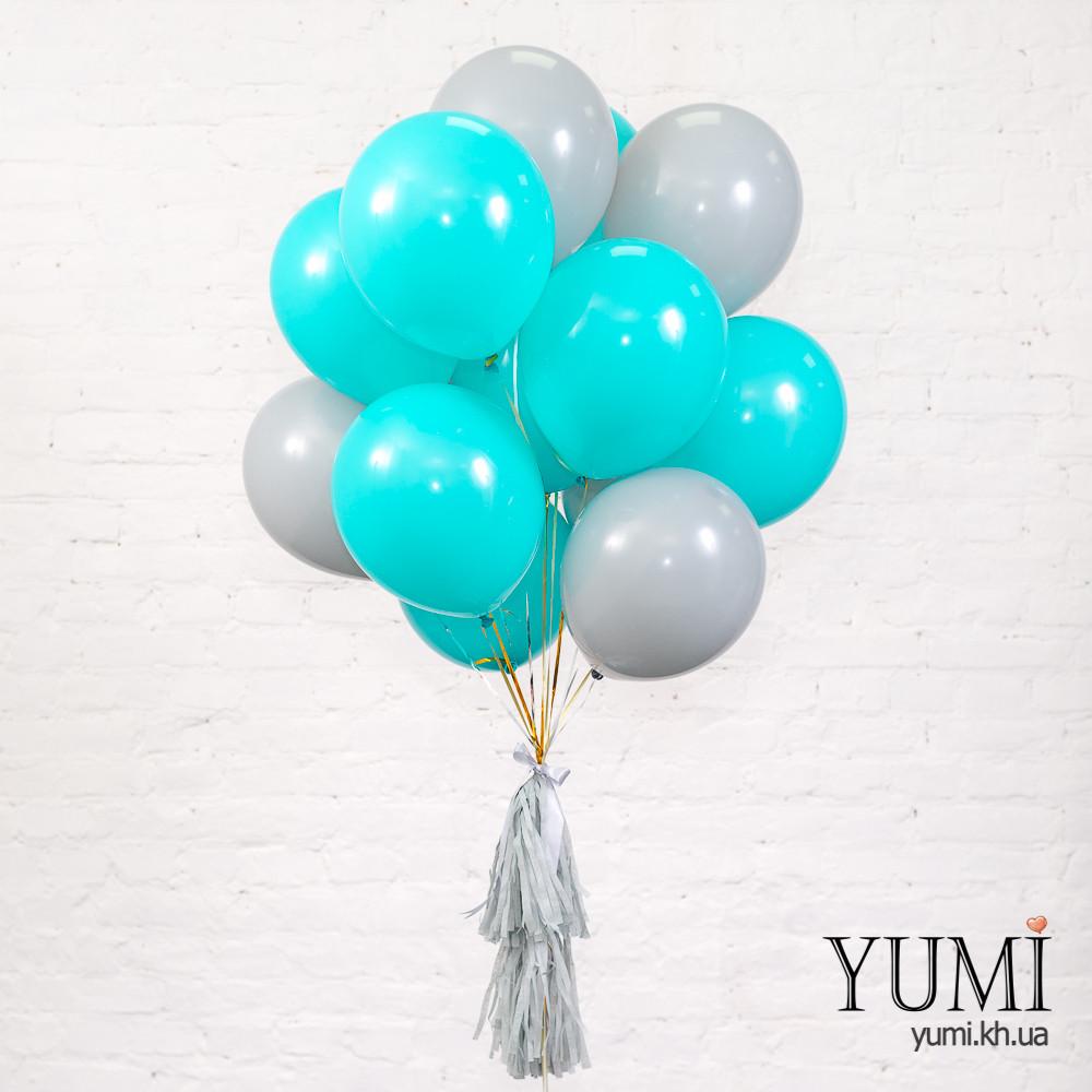 Стильный подарок из 15 шариков с гелием и кисточек тассел