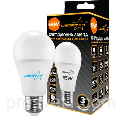 LED Лампа 12W/E27/4000K LEDSTAR