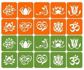 Набор трафаретов для био-тату India 20 шт.