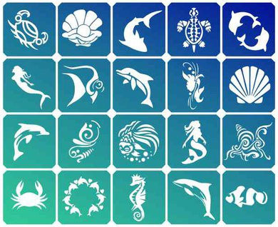 Набор трафаретов для био-тату Sea 20 шт.