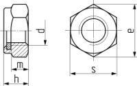 Описание: Гайка самостопорящаяся с пластиковым кольцом, низкая DIN 985. Чертёж