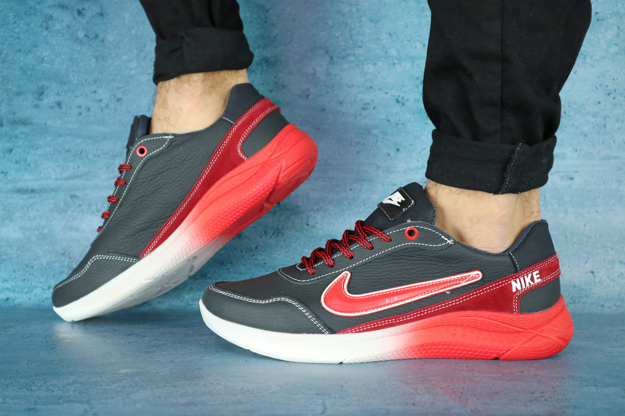 Мужские кроссовки Nike (синий/красный), ТОП-реплика