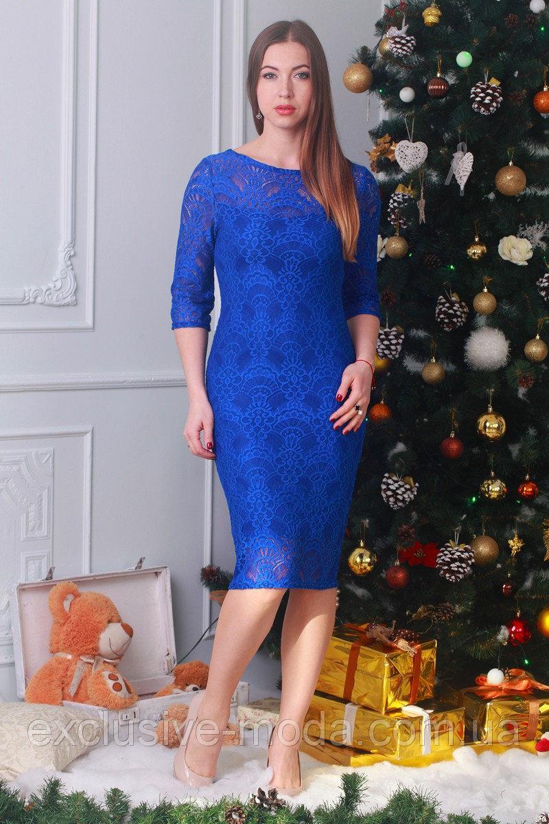 Стильное повседневное платье с гипюром