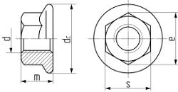 Описание: Гайка шестигранная с  фланцем DIN 6923. Чертёж