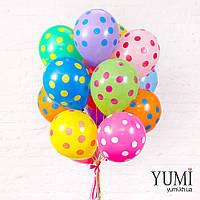 Связка из 15 шаров ассорти в разноцветный горох