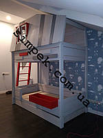 Детская кровать чердак из ольхи (Двухъярусная)