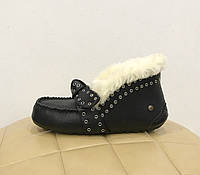 UGG Australia Alena Black Leather Черные кожаные высокие мокасины с мехом