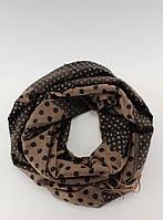 Коричнево-шоколадный шарф-палантин в горошек SZ-9215