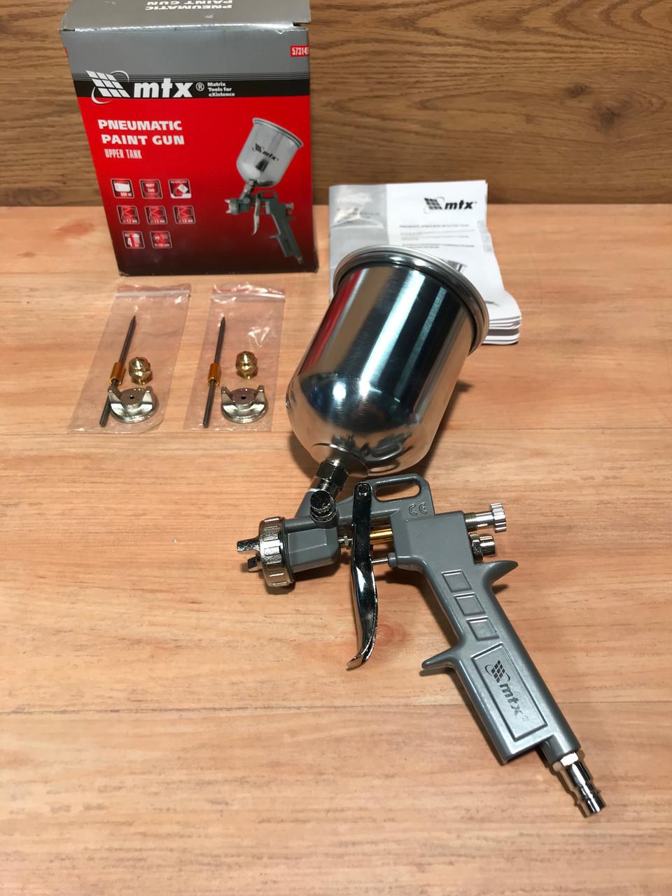 Краскораспылитель пневматический с верхним бачком V 0,6 л, сопло D 1.2, 1.5 и 1.8 мм MTX
