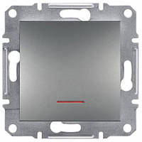 Выключатель ЕРН1400162 одинарный с подсветкой и с самозаж. контактами Asfora Сталь
