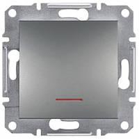 Выключатель ЕРН1500162 одинарный проходной с подсветкой и с самозаж. контактами Asfora Сталь