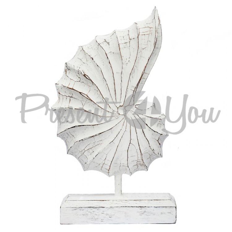 Фигурка-статуетка деревянная ракушка декоративная белая, h-36