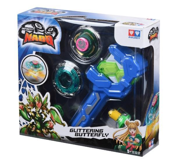 Волчок Auldey Infinity Nado Серия Атлетик - Glittering Butterfly с устройством запуска, разноцветный YW624503