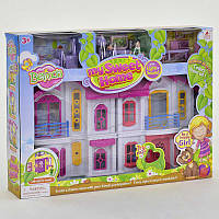 Домик кукольный игровой 16660  складной,мебель,жители, звук, свет,на бат-ке,в кор-ке,50-37-9см