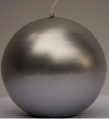 Свеча шар серебрянный  1шт, уценка (местами отслоения краски)